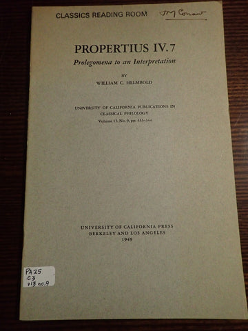 Propertius IV.7: Prolegomena to an Introduction