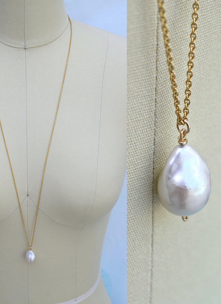 Flameball Pearl Drop Necklace - MILK VELVET PEARLS