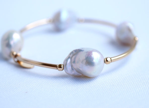 Gold Flameball Cuff - MILK VELVET PEARLS
