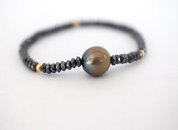 Black & Gold Tahitian Cuff - MILK VELVET PEARLS