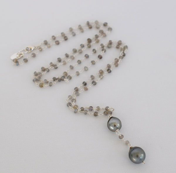 Double Tahitian Pendant Necklace in Silver - MILK VELVET PEARLS
