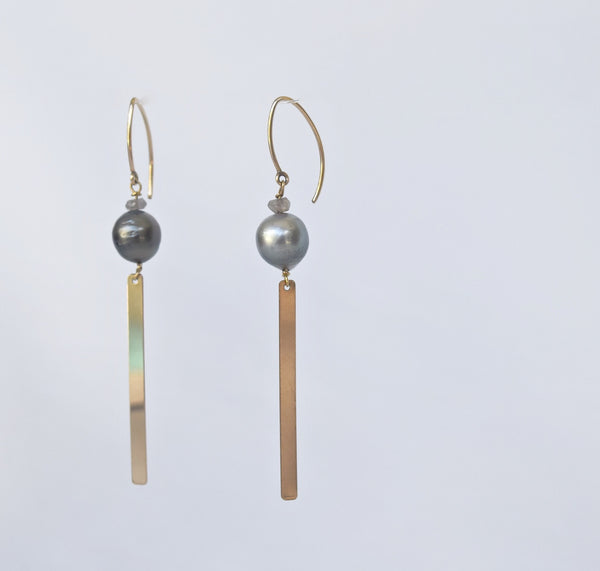 Gold Bar Tahitian Pearl Tassel Earrings - MILK VELVET PEARLS
