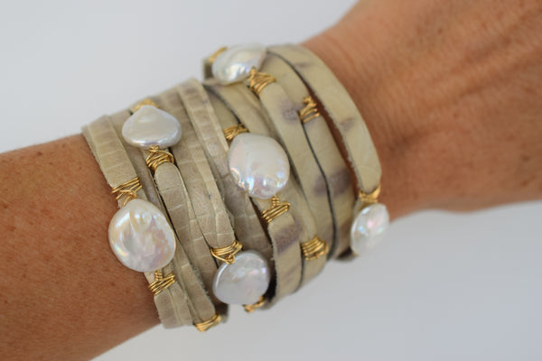 HALLELUJAH Leather Wrap Bracelet, Exotic Champagne Croc - MILK VELVET PEARLS