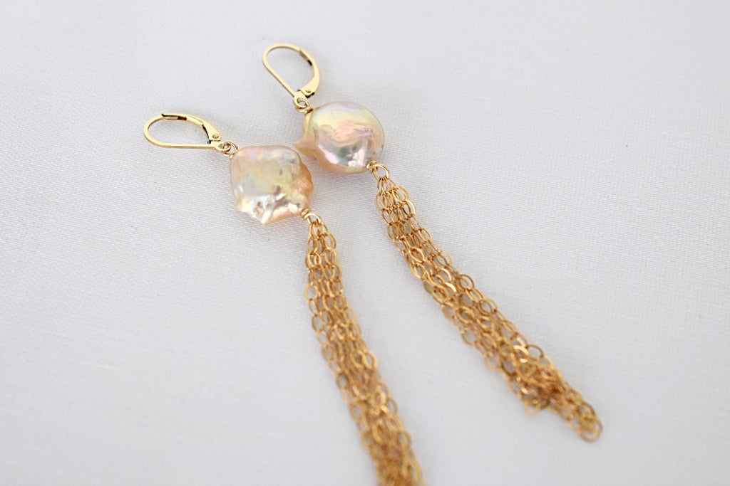 Pink + Gold Tassel Earrings, 14k GF - MILK VELVET PEARLS