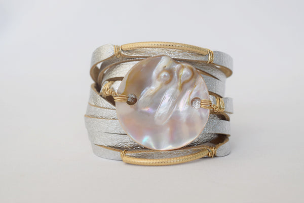 Limited Edition: ANGEL 002 Silver Leather Cuff - MILK VELVET PEARLS