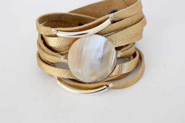 Limited Edition: GRACE Gold Leather Wrap - MILK VELVET PEARLS