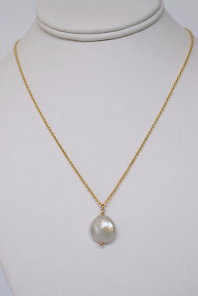 Gold Coin Pearl Necklace - MILK VELVET PEARLS