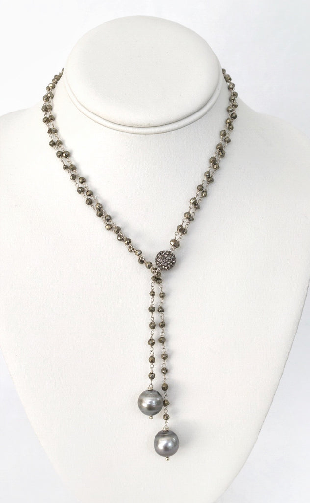 Black Tie Affair: Double Tahitian Pearl Lariat Necklace, Pyrite