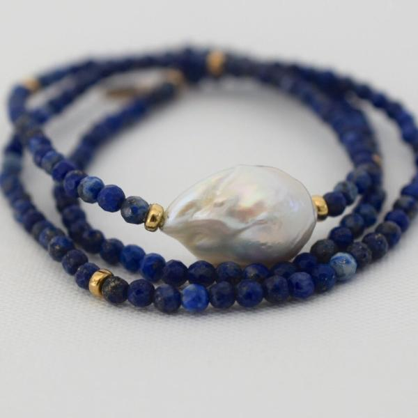 Convertible Flameball Pearl Necklace with Lapis Lazulli