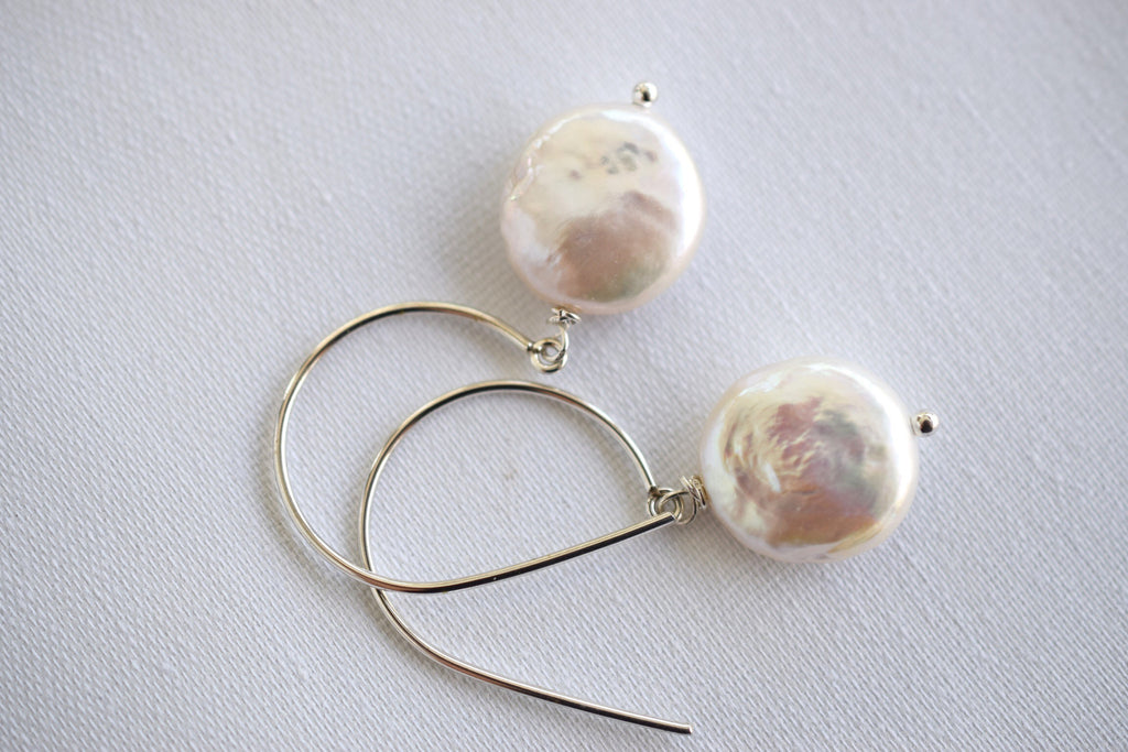 Coin Pearl Earrings, Sterling Silver - MILK VELVET PEARLS