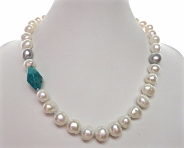 Turquoise Baroque with Tahitians - MILK VELVET PEARLS