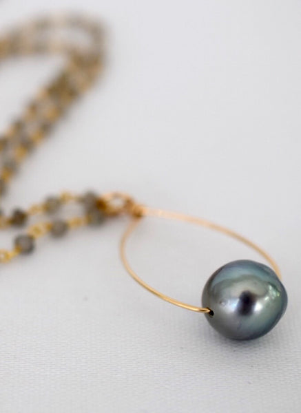 Gold Wrapped Tahitian Pearl Necklace - MILK VELVET PEARLS
