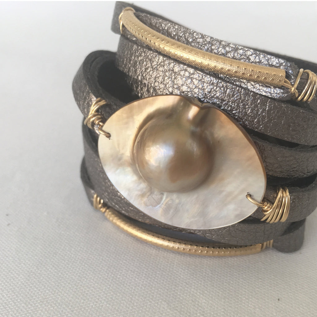Mabé Pearl Leather Cuff - MILK VELVET PEARLS