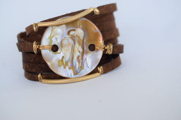ANGEL 006, Mahogany Leather Cuff with Gold - MILK VELVET PEARLS