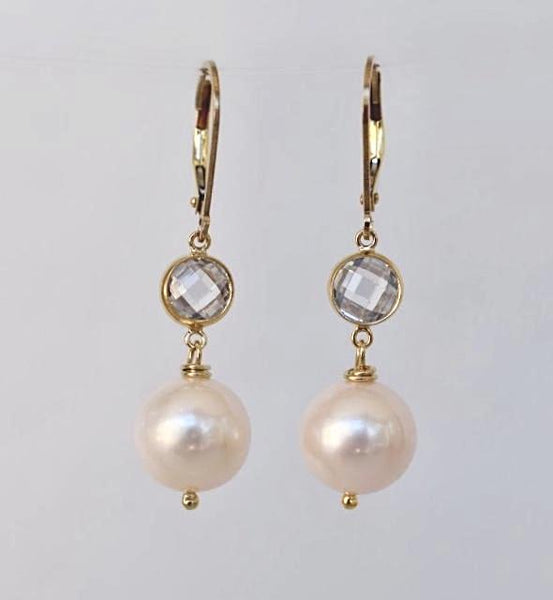 Firenze Earrings, 14k GF - MILK VELVET PEARLS