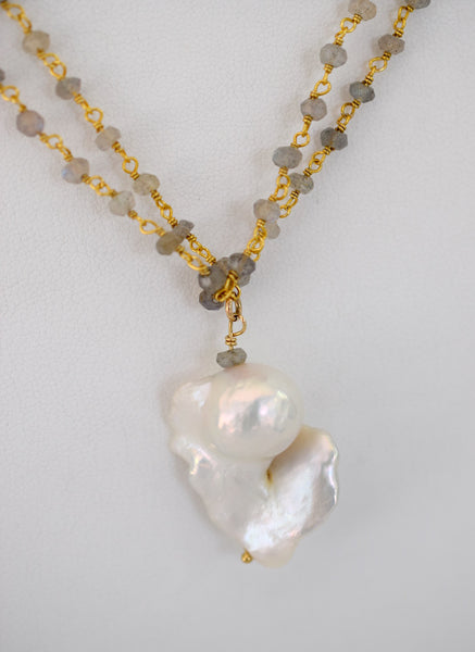 Limited Edition Flameball Wrap Necklace - MILK VELVET PEARLS