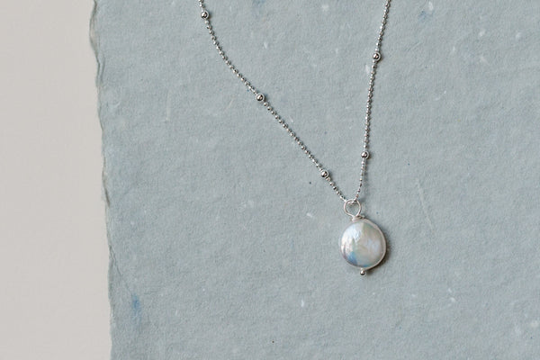 Dainty Coin Pearl Necklace, Sterling Silver