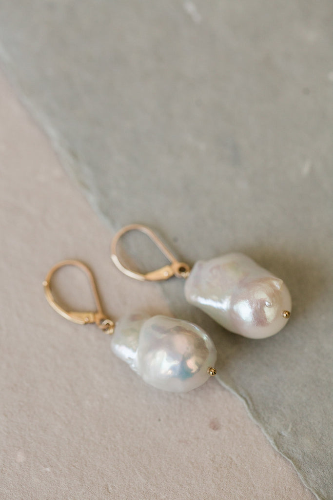 Massive Nucleated Baroque Pearl Earrings on 14k GF Wires