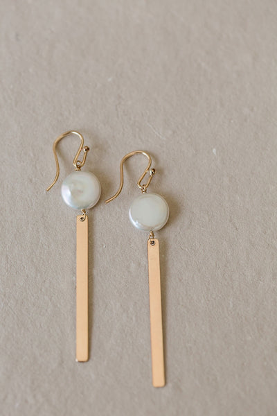 Coin Pearl Bar Earrings, 14k GF