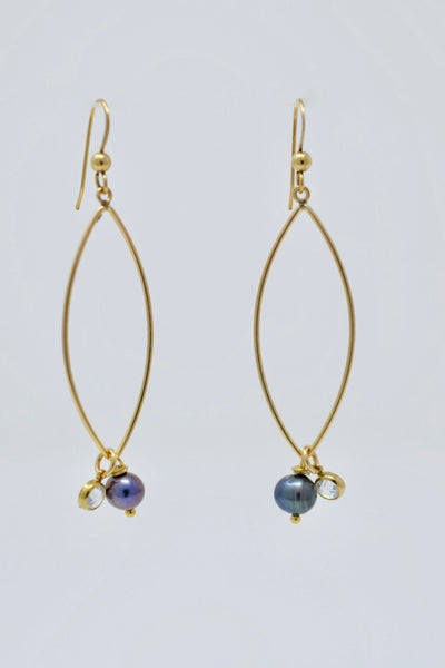 Charming :: Peacock Pearl Marquis Earrings, gold filled