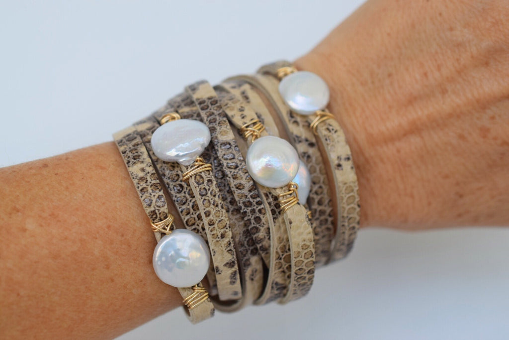 Leather wrap bracelet, leather and pearl cuff