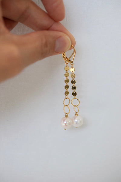 Gold Disc Dangles, 14k GF with 13mm pearls