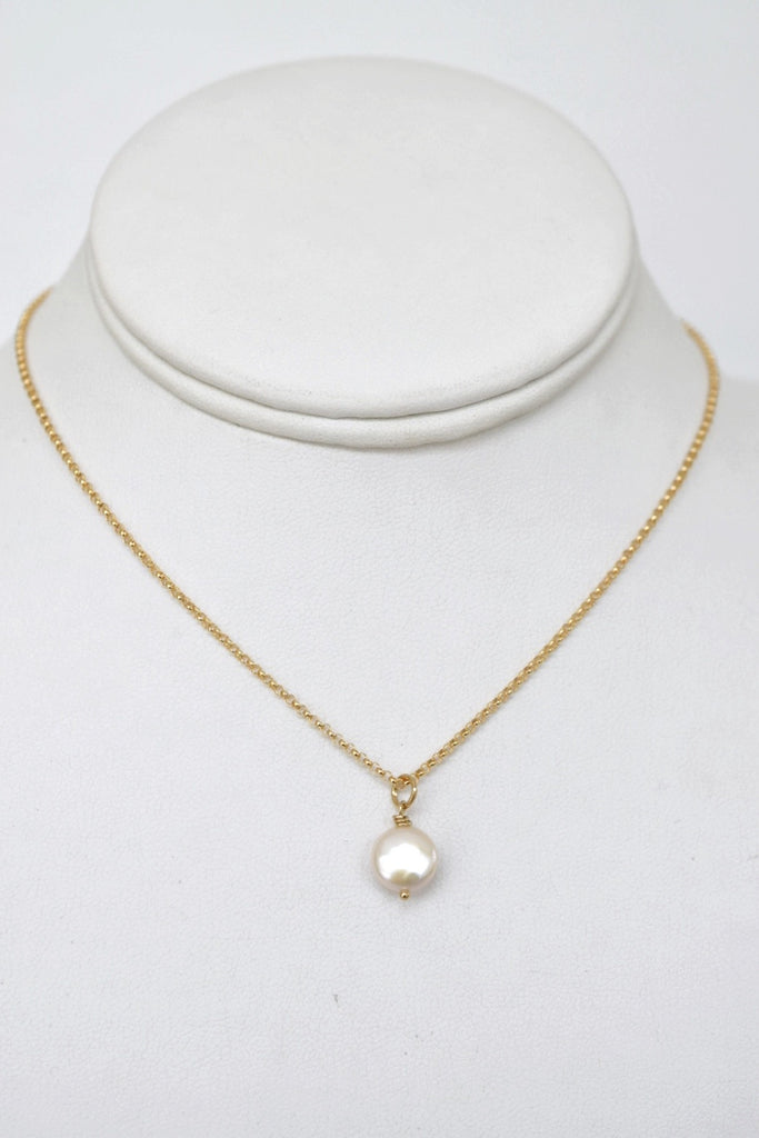 Mini Me, Gold Coin Pearl Necklace