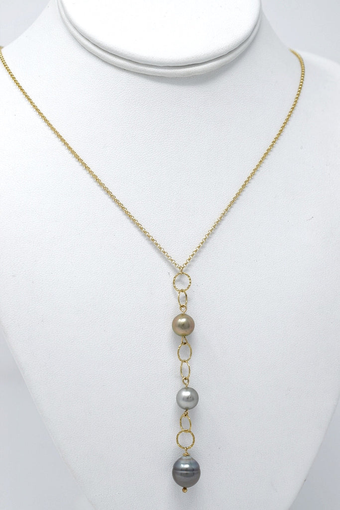 Triple Tahitian Ombré Y Necklace, 14 k Gold Filled