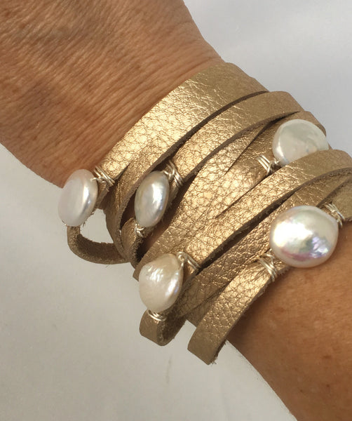 HALLELUJAH Leather Wrap Bracelet, Gold - MILK VELVET PEARLS