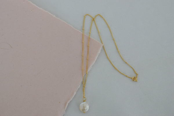 Dainty Coin Pearl Necklace, 14k Gold Filled