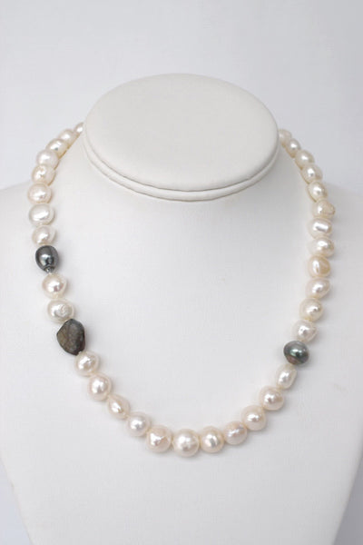 BE STILL: Baroque Pearl Strand with Tahitian Pearls & Labradorite