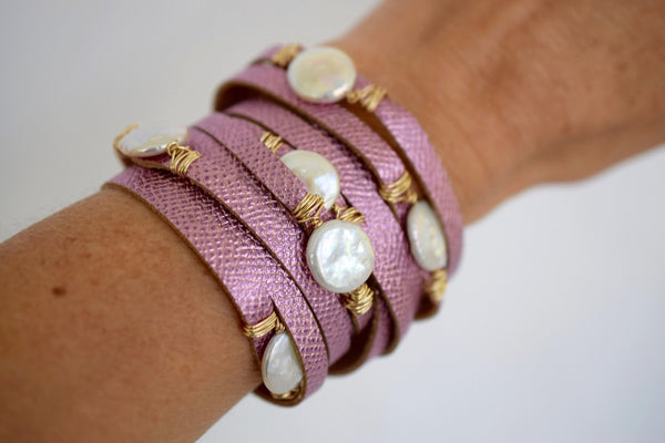 HALLELUJAH Leather Wrap Bracelet, Metallic Rose - MILK VELVET PEARLS