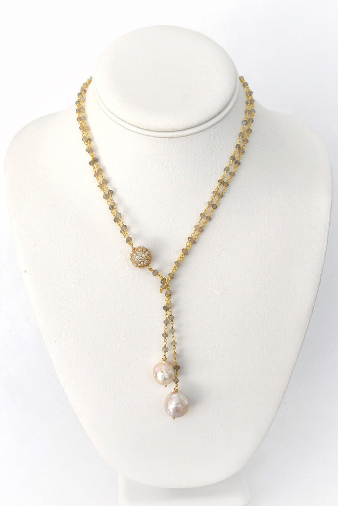 Abundance: Double Golden Baroque Pearl Lariat Necklace