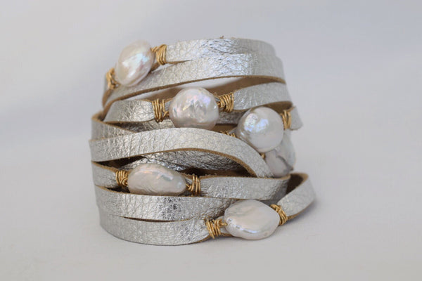 HALLELUJAH Leather Wrap Bracelet, Silver - MILK VELVET PEARLS
