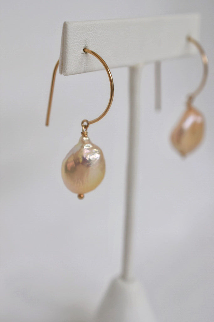 Peachy Pink Coin Pearl Earrings, 14GF