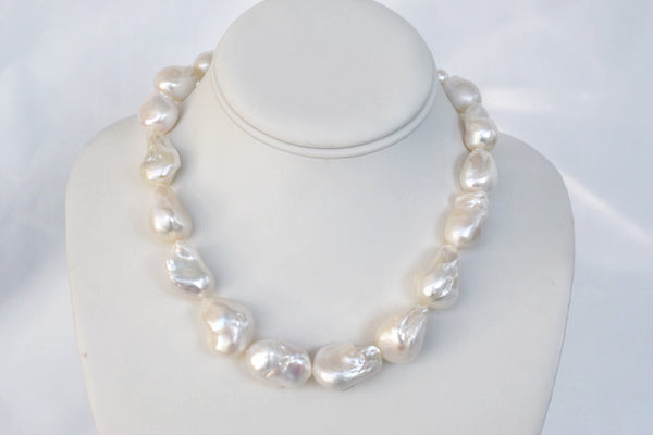 Massive Nucleated Baroque Pearl Necklace