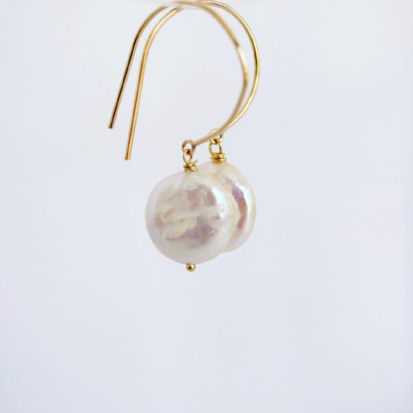 Coin Pearl Earrings, 14k GF - MILK VELVET PEARLS