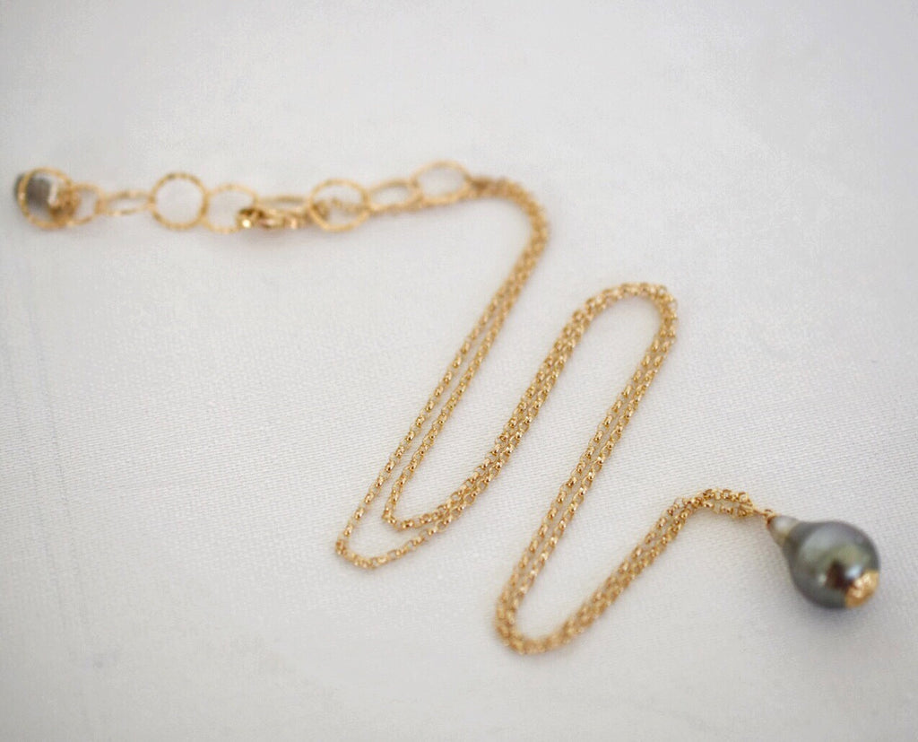 Tahitian Pearl ~ Simple 14k GF Chain Necklace