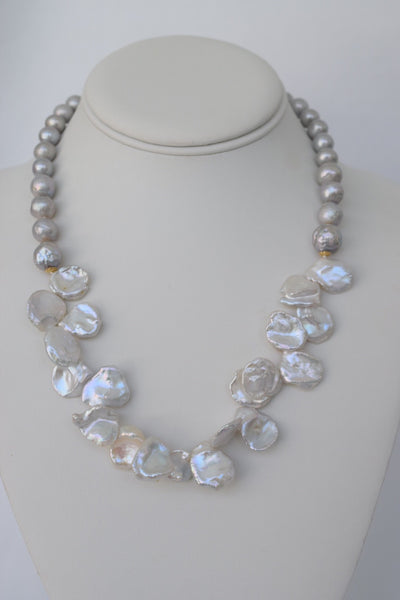 White Keshi Pearl Bib Necklace with Grey & Gold