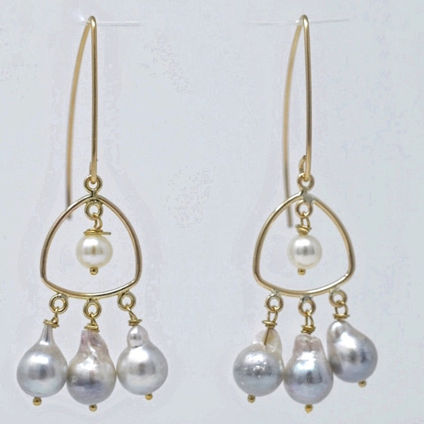 Lioness Chandelier Earrings with Akoya Drop Pearls, 14kGF