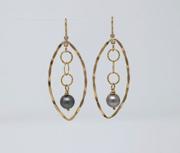 ARISE  - Tahitian Pearl Earrings, Gold Filled