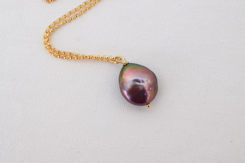 Gold Coin Pearl Necklace, Peacock Black Pearl - MILK VELVET PEARLS