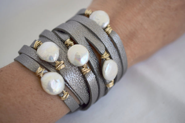 HALLELUJAH Platinum Leather Wrap Bracelet - MILK VELVET PEARLS
