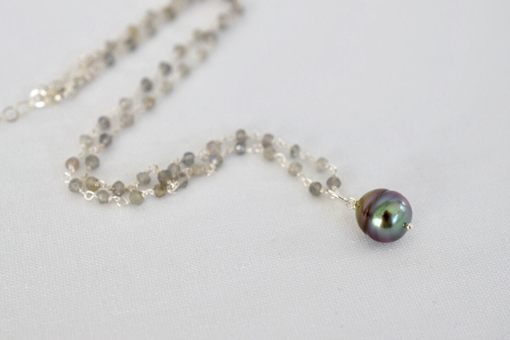 Sterling Silver Labradorite Rosary Chain with Tahitian Pearl Pendant