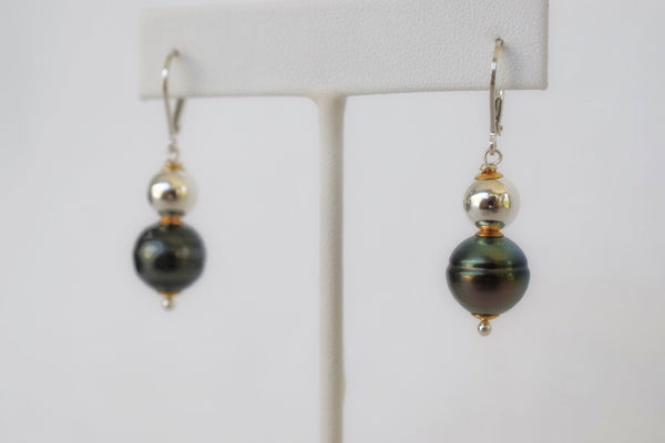 Silver + Gold Tahitian Pearl Drop Earrings, Limited Edition