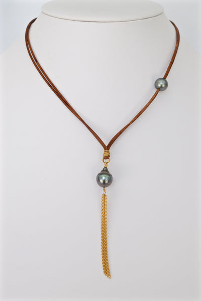 Tahitians & Tassels | Leather Necklace with 14kGF - MILK VELVET PEARLS