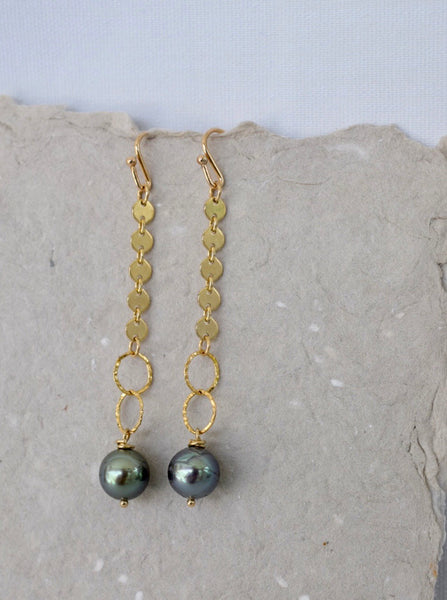"""Well Traveled"" Tahitian Pearl Chain Dangles, Limited Edition"