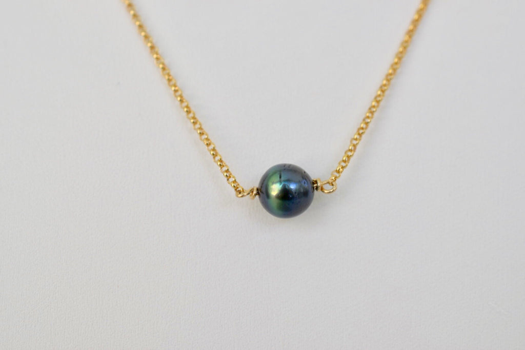 Green & Gold Necklace - Tahitian Pearl on 14k GF Chain