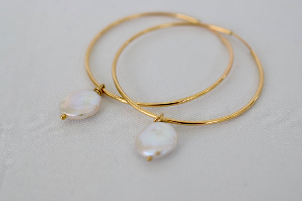 Dainty 14k GF Hoop Earrings with Coin Dangles