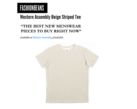 Fashion Beans Western Assembly Beige Striped Tee